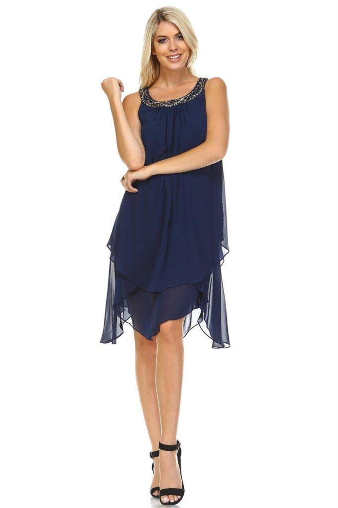 Women's Beaded Neckline Chiffon Dress