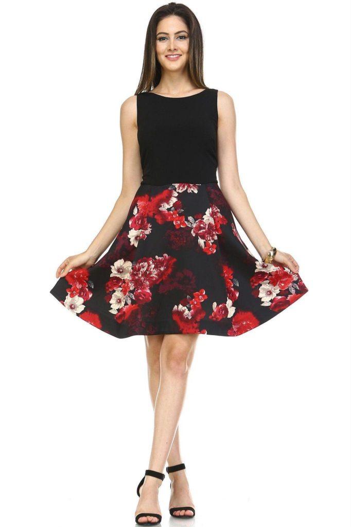 women's a-line floral print dress
